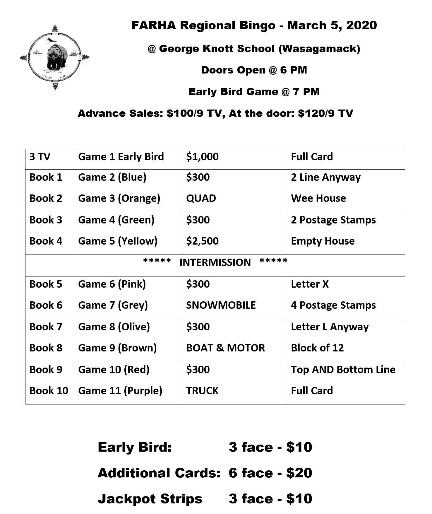 FARHA Regional Bingo – March  5, 2020