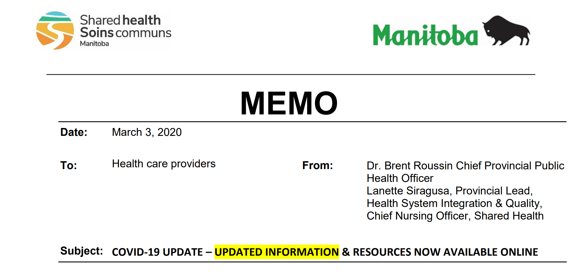 You are currently viewing COVID-19 March 3/2020 Update For All Health Care Workers