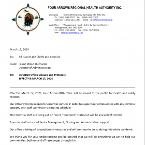 COVID19 Office Closure and Protocols  	EFFECTIVE MARCH 17, 2020