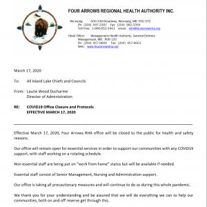 COVID19 Office Closure and Protocols  EFFECTIVE MARCH 17, 2020