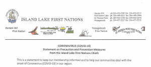Read more about the article CORONAVIRUS (COVID-19) Statement on Precaution and Prevention Measures from the Island Lake First Nation Chiefs