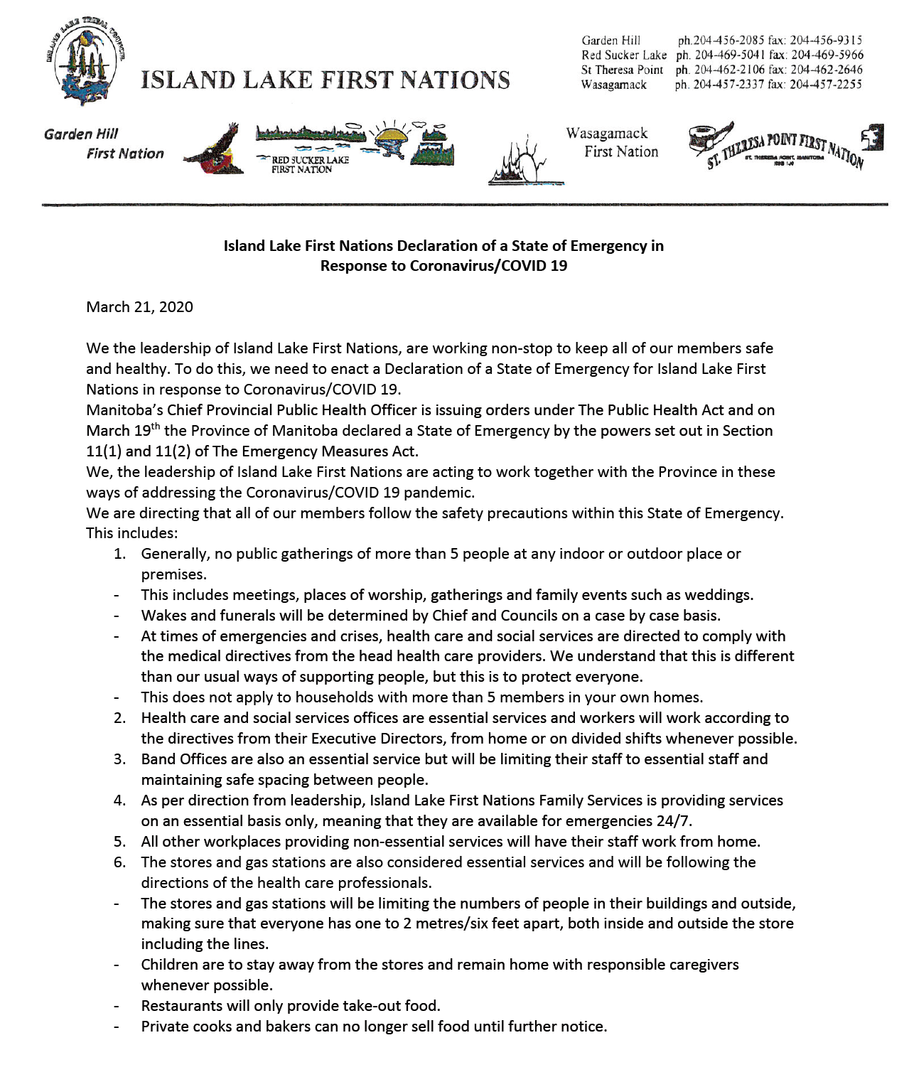 Island Lake First Nations Declaration of a State of Emergency in Response to Coronavirus/COVID 19