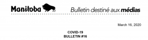 Read more about the article March 16, 2020 COVID-19  BULLETIN #16