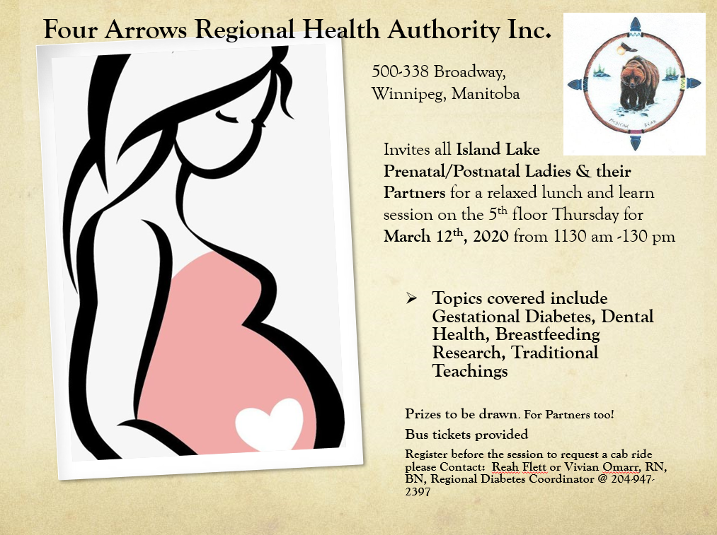 Postponed Until Further Notice: Four Arrows Regional Health Authority Inc. Prenatal Lunch and Learn