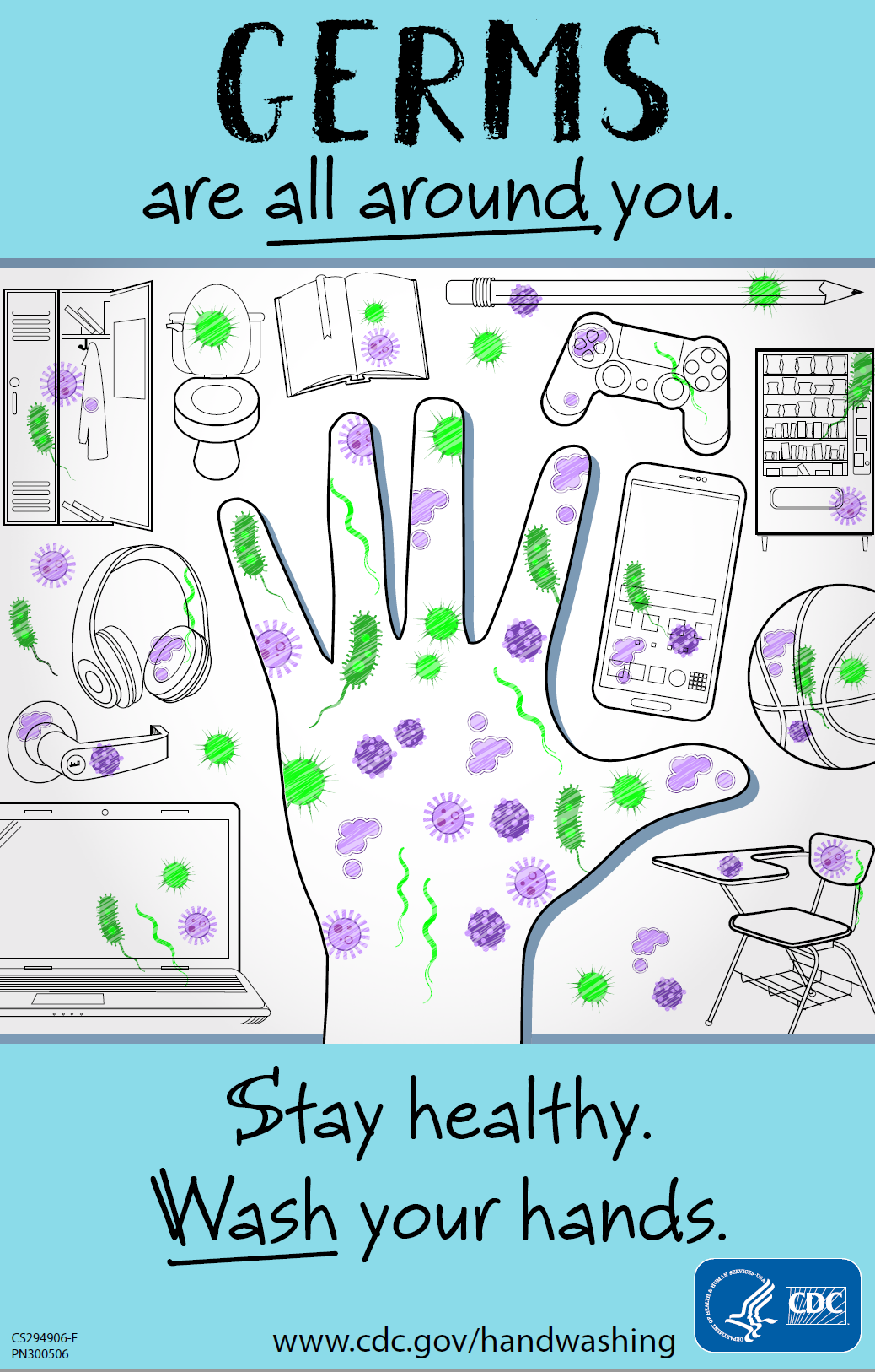 Stay Healthy. Wash Your Hands. Germs are all around you.
