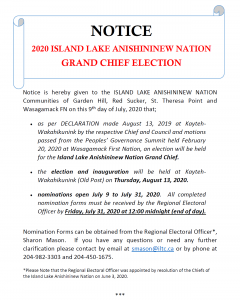 NOTICE: 2020 Island Lake Anishininew Nation Grand Chief Election