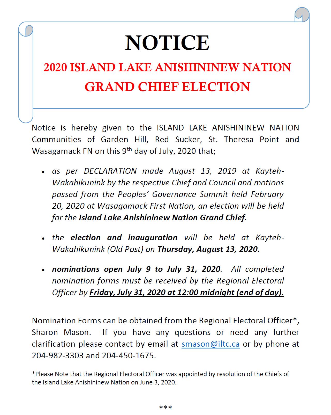 NOTICE: 2020 Island Lake Anishininew Nation Grand Chief Election