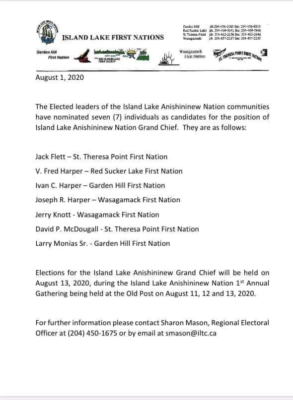 Island Lake Anishininew Nation Grand Chief Candidates