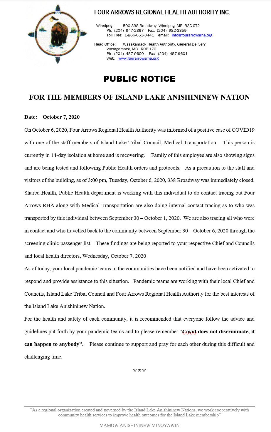 Public Notice – COVID-19