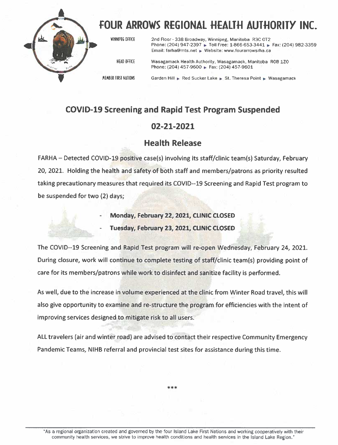Urgent: COVID-19 Screening and Rapid Test Program Suspended